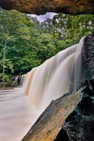 overhang: Anderson Falls, a beautiful wide waterfall in Indiana