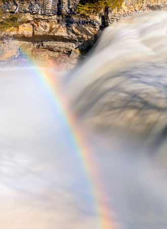 cataract falls: A rainbow arc over Upper Cataract Falls, a waterfall in Owen County, Indiana.