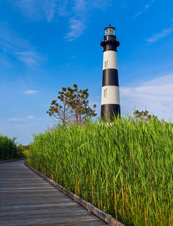 obx: A wooden boardwalk leads through a marsh to the North Carolina