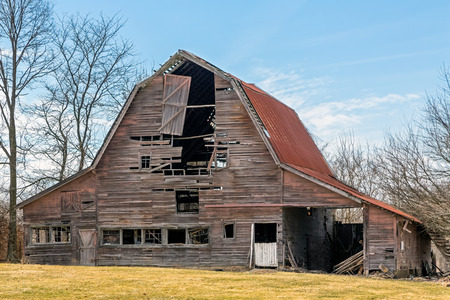 An old barn in rural Indiana is slowly falling down. photo
