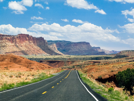 A Utah highway approaches Capitol Reef National Park. photo