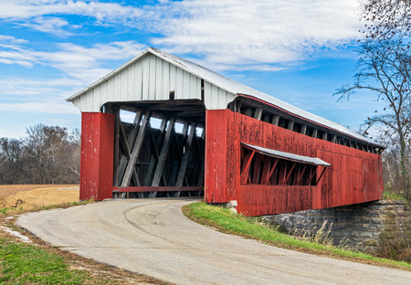 of yesteryear: The Scipio, Indiana Covered Bridge, constructed in 1886, crosses Sand Creek in Jennings County, Indiana.