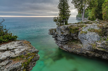 The rocky coast of Door County, Wisconsin