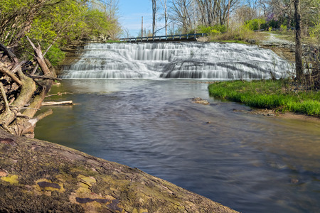 manmade: Thistlethwaite Falls, cascading waterfall in Richmond, Indiana.