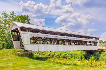 covered bridge: The Johnston Covered Bridge, built in 1887, crosses Clear Creek in rural Fairfield County, Ohio.