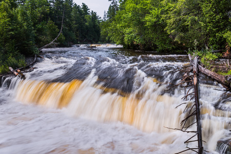 tannins: One of about five smaller waterfalls that make up Lower Tahquamenon Falls, plunges over a rocky ledge with tannin-stained whitewater.
