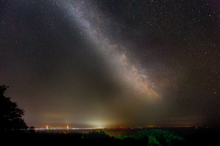 mackinac: The Milky Way Galaxy shines above the Mackinac Bridge on a clear night in Michigan.
