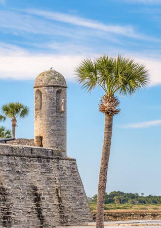 coquina: The Castillo de San Marcos, a coquina stone fort built by the Spanish stands hundreds of years later in St. Augustine, Florida. Stock Photo
