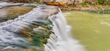 cataract falls: Mill Creek flows over Own County, Indianas Upper Cataract Falls in this widescreen panoramic scene shot with a long exposure.