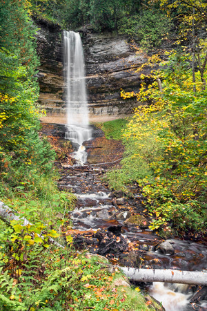 alger: Munising Falls, a beautiful waterfall in Michigans Upper Peninsula, is one  of many scenic wonders at Pictured Rocks National Lakeshore.
