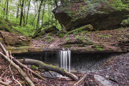 cusp: Maidenhair Falls, a waterfall in Indianas Shades State Park, makes a small plunge over a rocky ledge in Pearl Ravine.