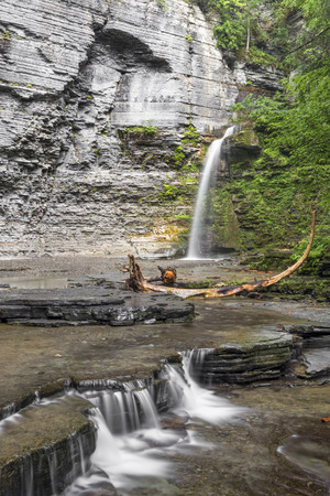 McClure Creek plunges into a rocky amphitheater at Eagle Cliff Falls at Havana Glen in Montour Falls, New York.