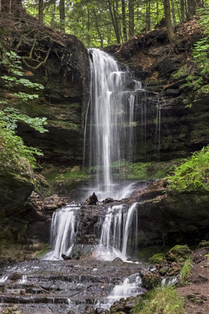 alger: Horseshoe Falls is a beautiful, cascading waterfall at Munising in Michigans Upper Peninsula. Stock Photo
