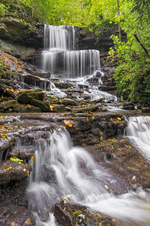 plunging: Whitewater splashes over the West Milton Cascades in Miami County, Ohio. Stock Photo