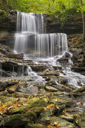 Whitewater splashes over the West Milton Cascades, a beautiful waterfall in Miami County, Ohio.
