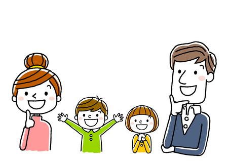 4 명 가족 : 미소를 바라보며 생각하다. 일러스트