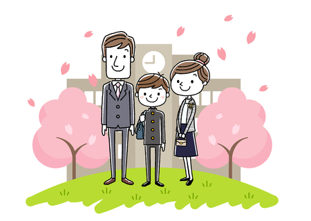 The entrance ceremony image: parents and boys Illustration