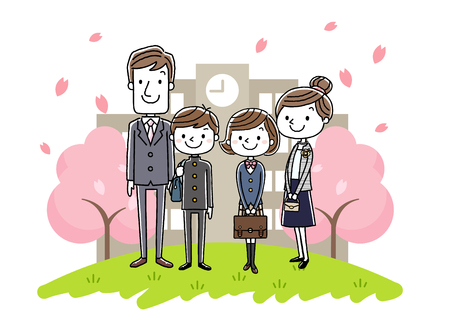 School entrance ceremony image: parents and boys and girls Illustration