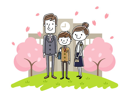 Student Life: The entrance ceremony image: parents and boys Illustration
