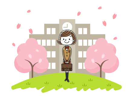 first grade: Girl in entrance ceremony Illustration