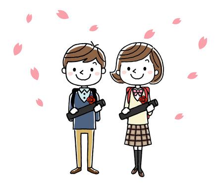 Graduation ceremony image: boys Illustration