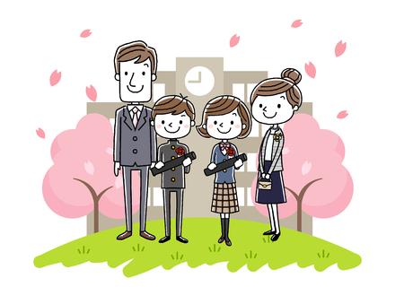 卒業式画像: 両親と男の子と女の子