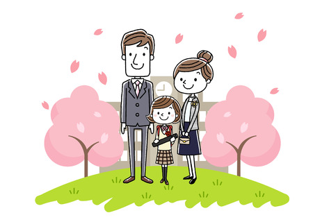 simple life: Graduation ceremony image: parents and girls Illustration