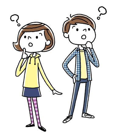 Ragazzo e ragazza in dubbio
