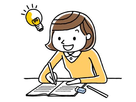 Chica estudiando Ilustración de vector