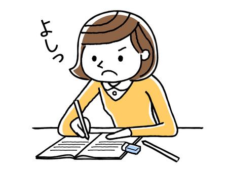 勉強していた少女