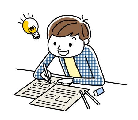 cram: A boy studying Illustration
