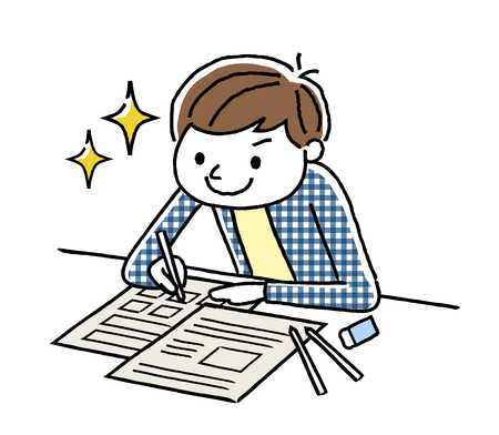 A boy studying  イラスト・ベクター素材