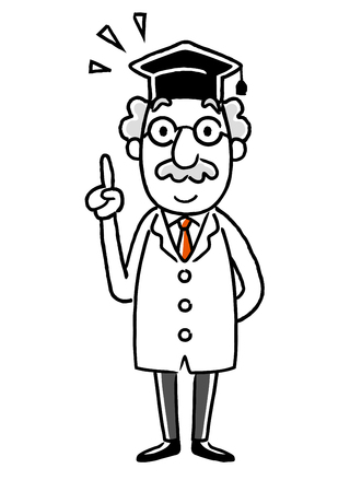 Doctor pointing up. Illustration