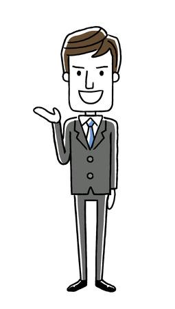 サラリーマンの男性: 導入、指導  イラスト・ベクター素材