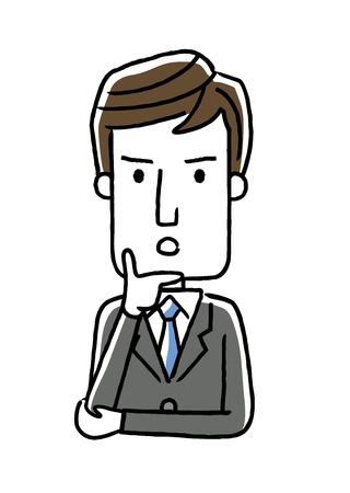 男性ビジネスマン: 質問を考えて、