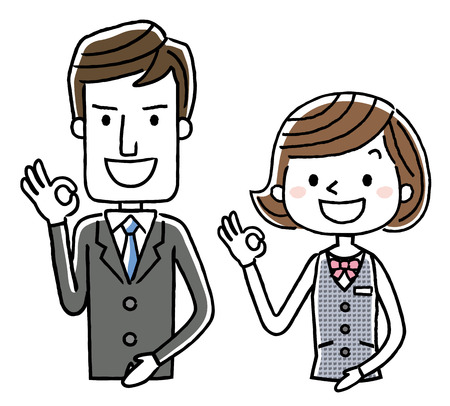 hotel staff: Business: Male and female Illustration