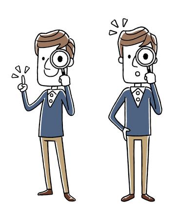 男性: 虫眼鏡  イラスト・ベクター素材