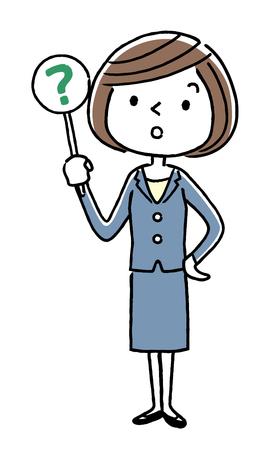ビジネス: 若い女性、答えは、質問