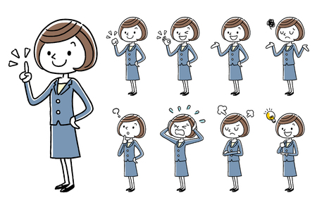 Business Young women, cartoon style set.