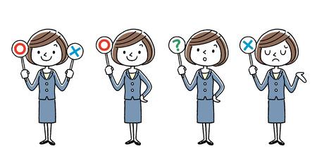 Business Young women, cartoon style set.