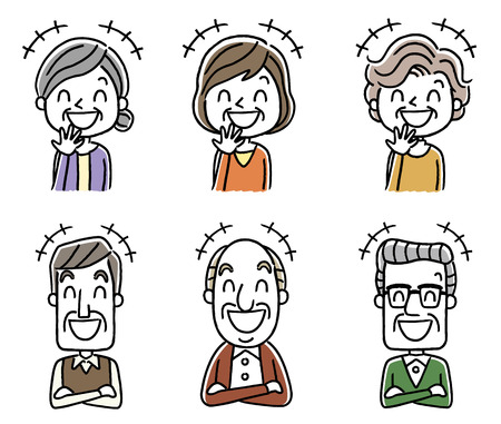 Laughing Senior men and women icon set Ilustração