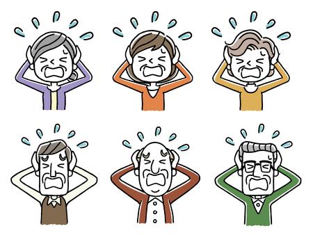 Panicking Senior men and women icon set Illustration
