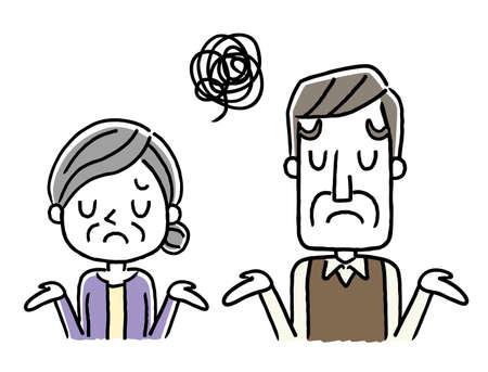Senior couple: disappointed Vektoros illusztráció