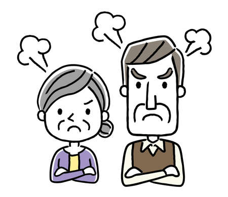 Senior couple: get angry, dissatisfied Illustration