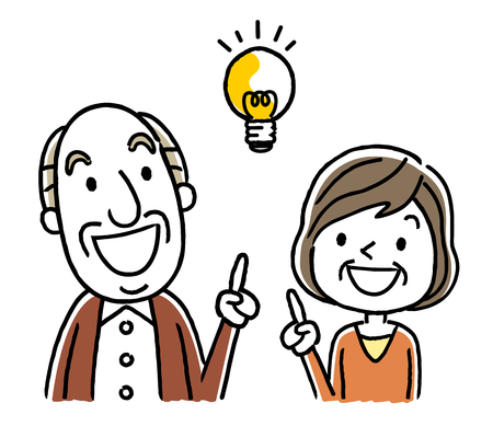 Senior couple with bright idea.