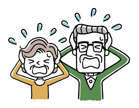 Panicking senior couple.