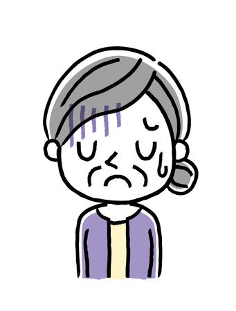 Senior woman is depressed or sad icon.