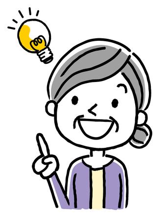 Senior woman having an idea icon.