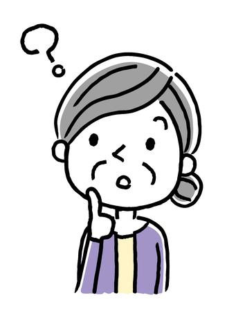 Senior woman with question icon. Illusztráció