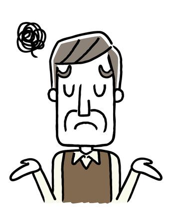 Senior male, troubled, disappointed, sorry. Vektoros illusztráció
